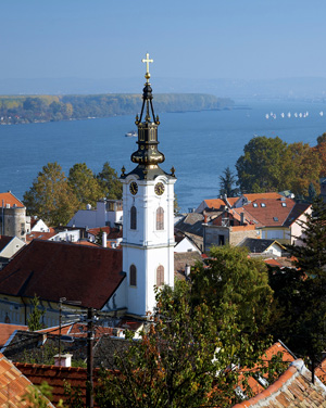 Church in Zemun and Danube river