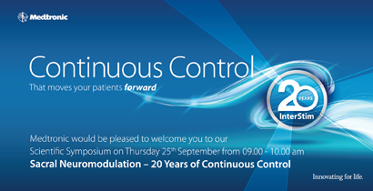 Medtronic: Continuous Control That moves your patients forward. Click here for info about our  Scientific Symposium on Thursday