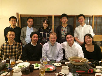 Martyn Evans with Dr Kinguasa and team at a meal