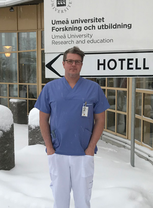 Christoffer Odensten in front of hospital