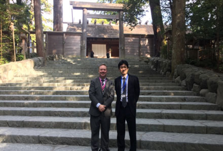 Richard Brady with Dr Matsuda at Ise Shrine