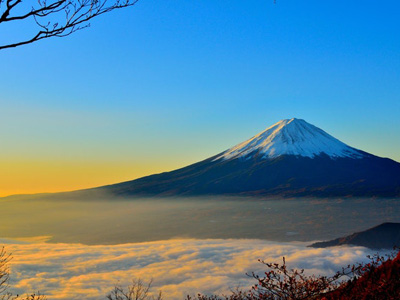 Mount Fuji sea of clouds sunrise