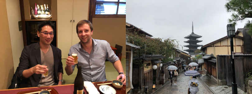 Left: Jasper Stijns with Dr Uemura having lunch. Right: photo of Kyoto
